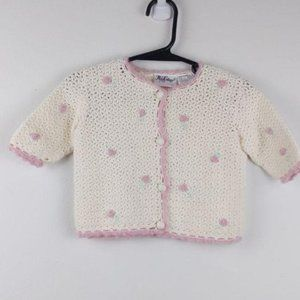 Rose cottage -cream & pink knit button up sweater